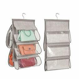 mDesign Soft Fabric Hanging Closet Rod Storage Organizer for