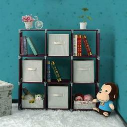 Stackable 9 Cube Cubicle Closet Toys Book Organizer Storage