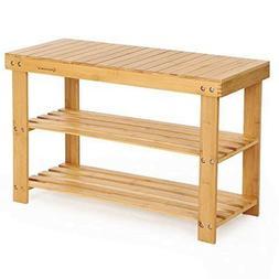 SONGMICS Sturdy Shoe Rack Bench,3-Tier Bamboo Shoe Organizer