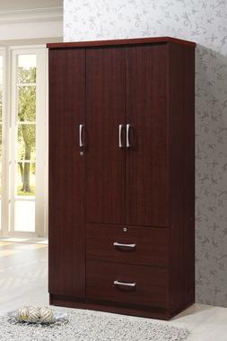 Tall Bedroom Armoire 3 Door 2 Drawer Closet Wardrobe Storage