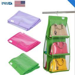 us hanging handbag organizer 6 pocket shelf