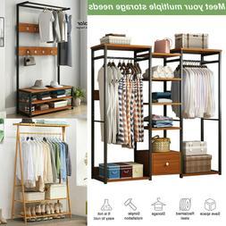Wood Closet System Storage Organizer Garment Rack Clothes Ha