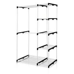 FURINNO WS15005WH Wayar Double Rod Freestanding Closet, Whit